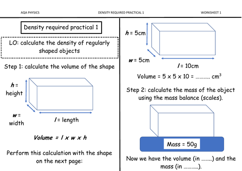 Density required practical summary worksheet