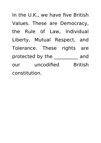 British Values Drop Down Day
