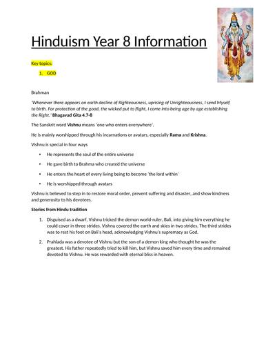 Year 7 Hinduism Workbook