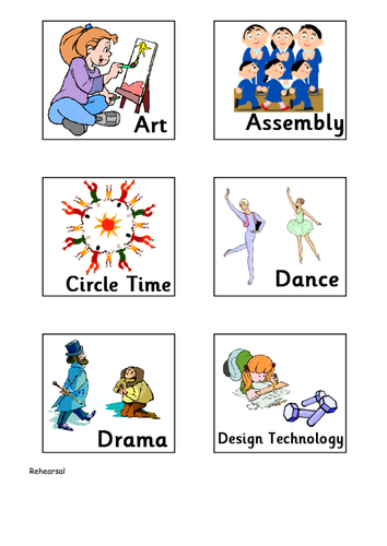 Visual Timetable Cards Updated By Wonreka1 Teaching