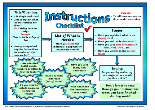Instruction genre checklist mat by shelleymccuk teaching for Instruction leaflet template