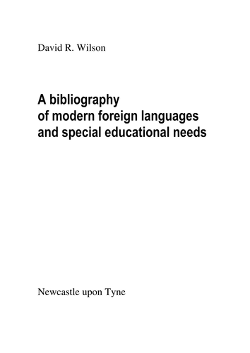A bibliography of modern foreign languages and special educational needs