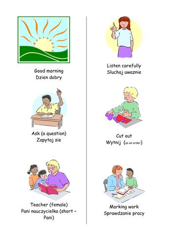 POLISH ENGLISH USEFUL CLASSROOM PHRASES