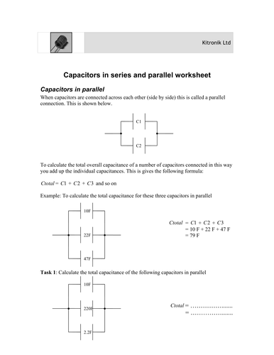 Capacitors in parallel and series worksheet