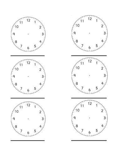 Worksheet Blank Face Worksheet Printable blank clocks worksheet by simon h teaching resources tes