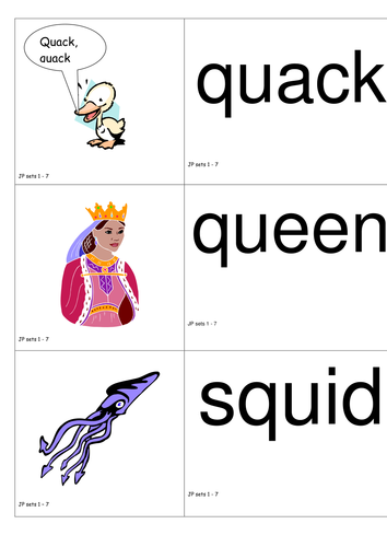 Jolly Phonics words and pictures for sorting (sets 1-7)