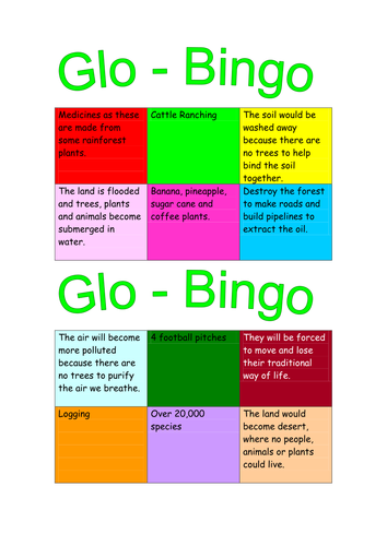global bingo cards linked to the effects of deforestation
