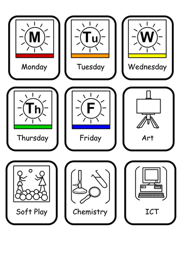 Widgit Symbols for Visual Timetables by bevevans22