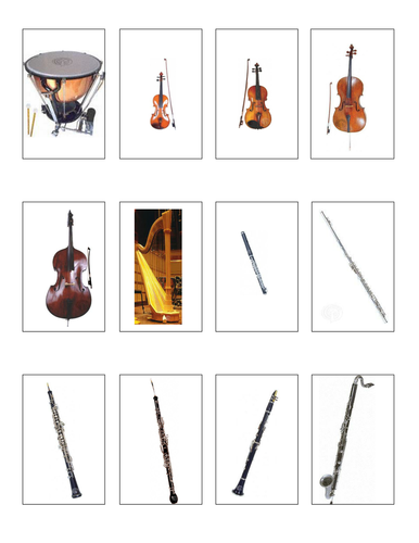 Instruments of the Orchestra Flash Cards/Game Cards