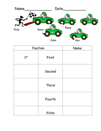 Ordinal numbers - positions by sheep_tea | Teaching Resources