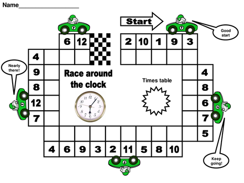 Race around the clock times tables by matt7 teaching for 10 times table game