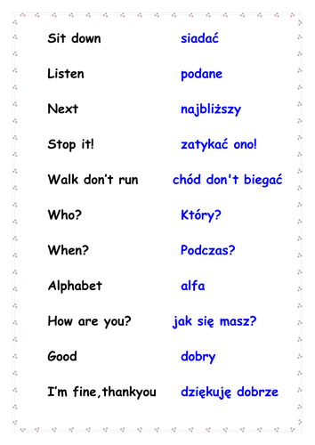 General Phrases in English/Polish