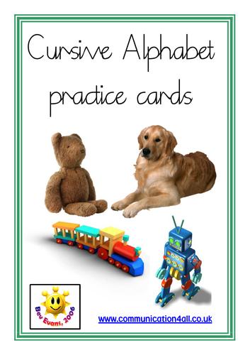 Cursive alphabet practice cards