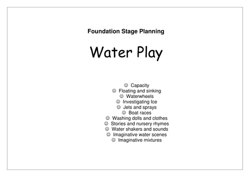 Sand/Water/Malleable/Role Play Activities