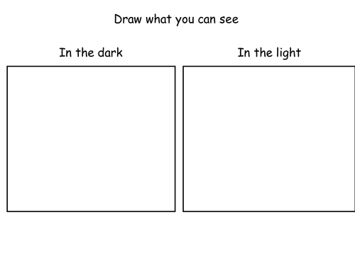 Using dark boxes to experiment with light and dark