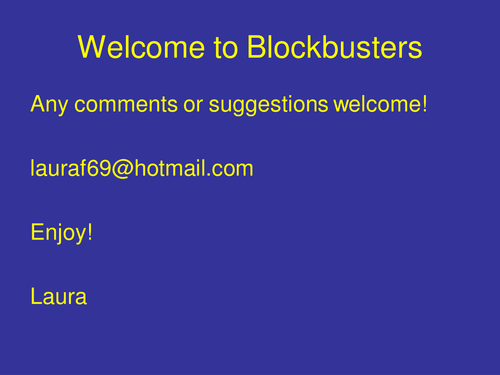 Interactive Blockbuster Game Template - PPT