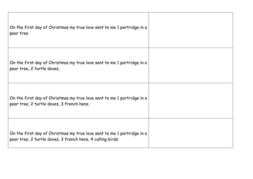 12 days of Christmas numeracy