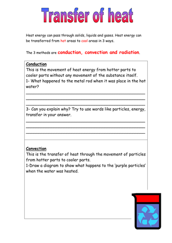 Heat Energy Transfer Worksheet by 1mightyhamster | Teaching Resources