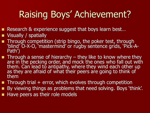 Raising Boys' Achievement? Powerpoint
