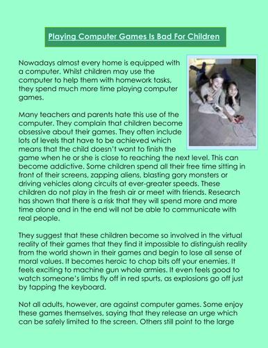 Persuasive writing- children & computers games argument