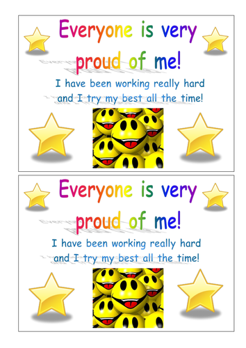 'Working hard'/'I'm proud of you' certificate