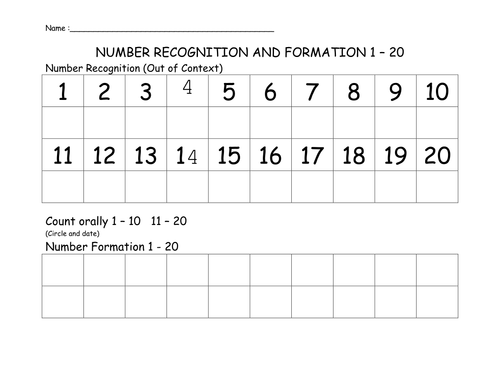Number Recognition Assessment Form By Das100