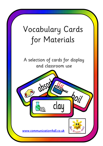 Vocabulary cards for Science: Materials