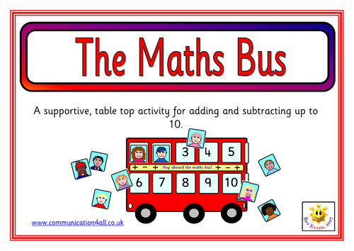 the maths bus a supportive table top activity for addition and subtraction up to 10 by. Black Bedroom Furniture Sets. Home Design Ideas
