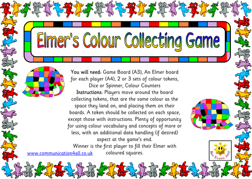 Elmer's Colour Collecting Game by bevevans22   Teaching ...