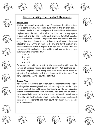 5 LITTLE ELEPHANTS - RESOURCE PACK FOR COUNTING/ADDITION/SORTING