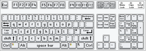 Standard computer keyboard layout with lower case letters for Keyboard overlay template