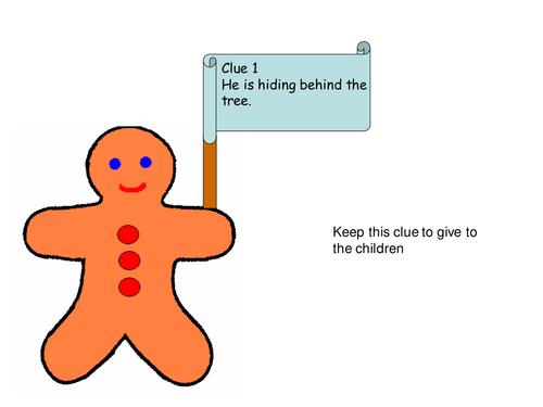 Outdoor literacy gingerbread man treasure hunt