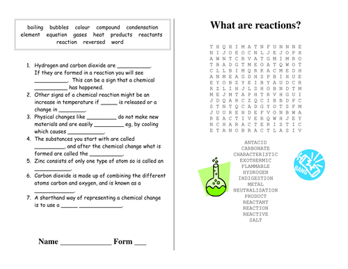 Reactions - Revision Puzzles Worksheets