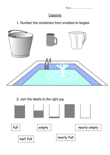 Capacity Worksheet By Indigo987 Teaching Resources