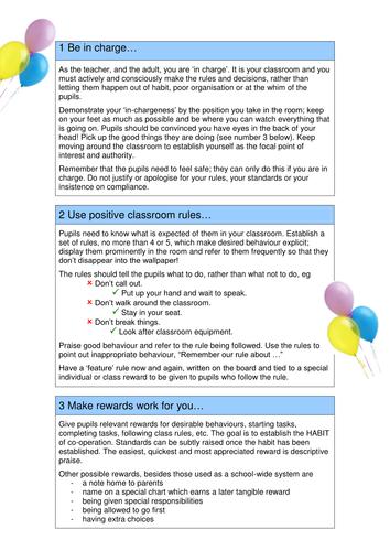 Top 10 Behaviour Management Tips
