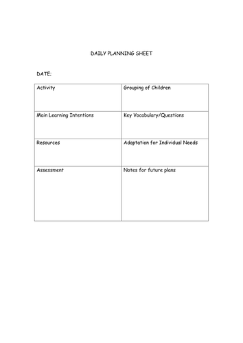 daily  activity planning sheet