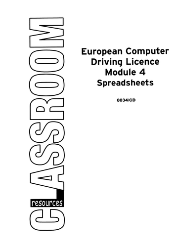 European Computer Driving Licence V4, Module 4, Spreadsheets