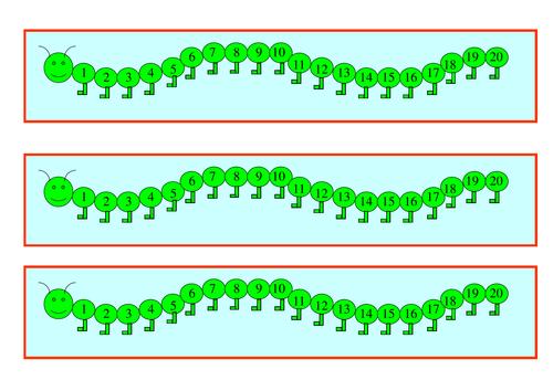 Table top caterpillar number line