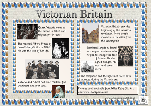 Double Sided Topic Mat: Victorian Britain.