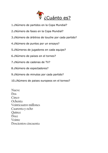 Spanish rugby world cup puzzles