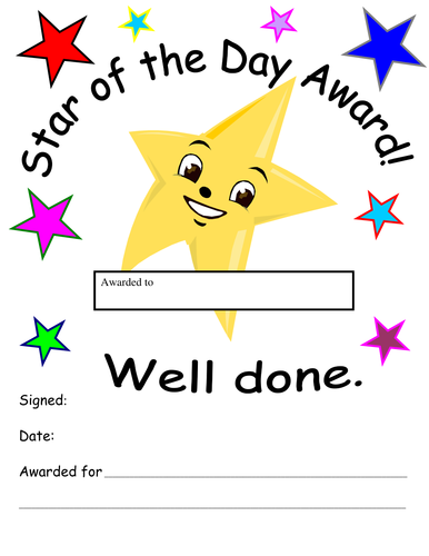Star of the day award by lou73102002 teaching resources for Star of the week poster template