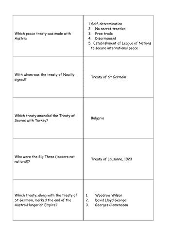Modern World GCSE Revision Quiz cards