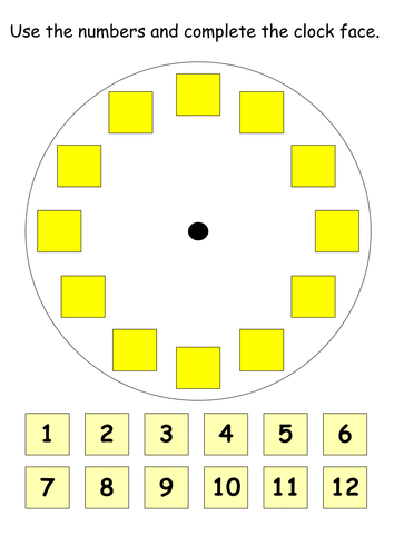 complete the clock face by john shaw teaching resources tes