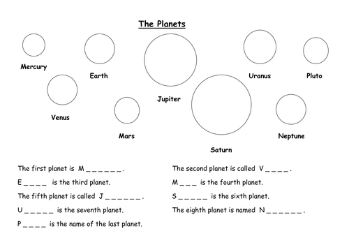 Alphabetical Ordering. The Planets. Cross curric