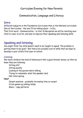 CLL - talk to parents