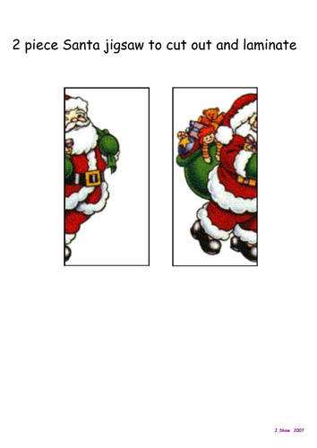 Christmas Jigsaws - 2 to 9 pieces for individual or collaborative work