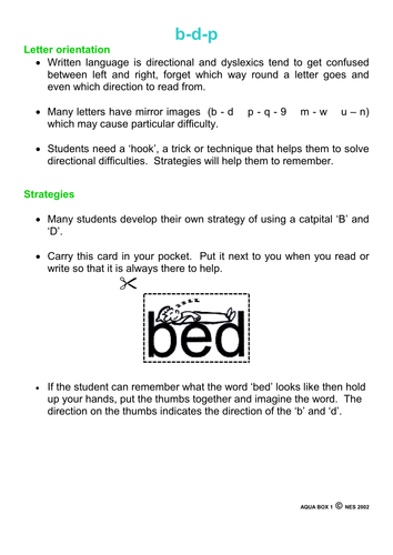 Dyslexia Letter Orientation Strategy B D And P By Ebd35 Teaching
