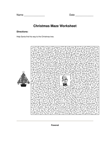 Christmas Maze worksheet by margaretarmstrong37 | Teaching Resources