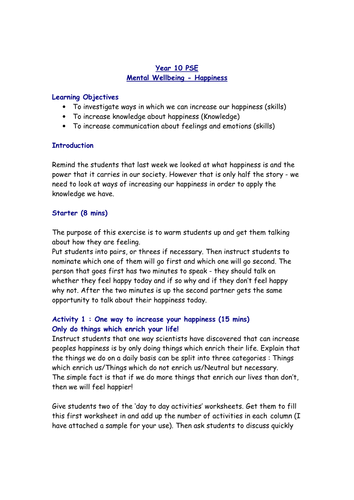 Lesson on Happiness and Mental Wellbeing