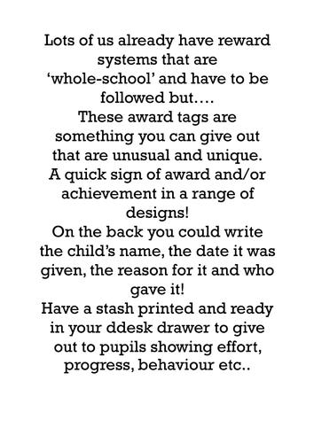 Award Tags - A nice reward for good behaviour!